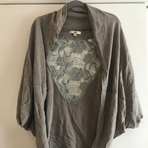Knit Lace Back Grey Cardigan